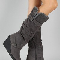 Liliana Treviso-3 Slouchy Round Toe Knee High Wedge Boot