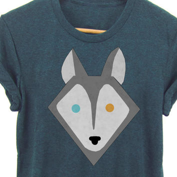 Geo Husky Tee - Boyfriend Fit Crew Neck T-shirt with Rolled Cuffs in Heather Steel Blue and White - Women's S-4XL