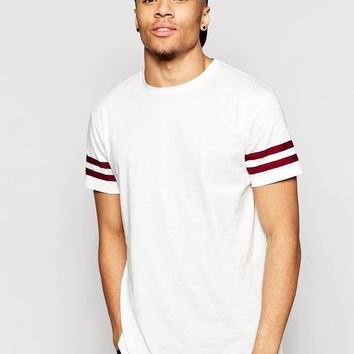 Brooklyn Supply Co T-Shirt Double Stripe Sleeve in Ecru