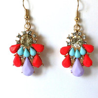 Red, Aqua, Lilac Dangle Earrings, Blue, Beaded, Long, Earrings, Rhinestones
