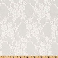 Giselle Stretch Floral Lace White Fabric