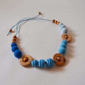 Blue Teething Necklace with Button - Breastfeeding Mother Necklace - Crochet Teething Toy - Fabric Necklace - Gift for Mom and Baby