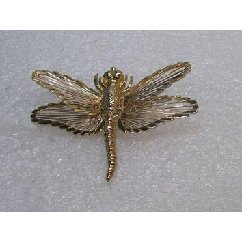 """Vintage Monet Dragonfly Brooch, Wired Gold Tone, 1960's, 1.75"""" Long"""
