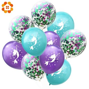 10PCS Cartoon Mermaid Balloons Confetti Air Ballons Wedding Ballons Kids Birthday Party Decorations Baby Shower Supplies