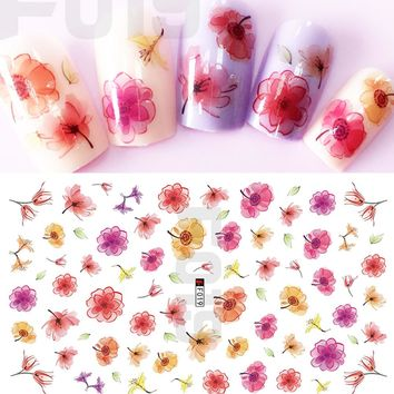 1 Sheets Mixed Colorful Red/Orange/Rose Flower 3D Adhesive Tips Nail Decals Nail Art Sticker New Charm Women Nail Tools CHF019