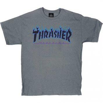 Thrasher Magazine Thrasher Flame Logo T-Shirt - Blue/Purple
