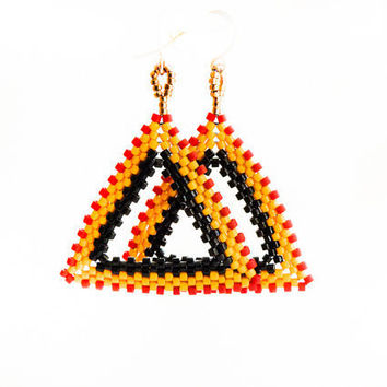 Africa Tribal geometric shape red yellow black by CallOfEarth