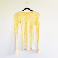 American Eagle Outfitters thermal shirt, ombre yellow winter long sleeve tee with tiny flowers, XS one of a kind