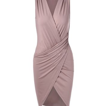 Casual Deep V-Neck Plain Ruched Bodycon Dress