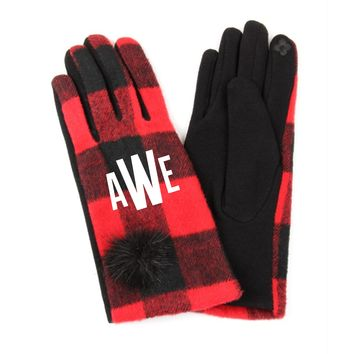 Monogrammed Red and Black Plaid Gloves