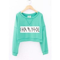Fashion spring kpop exo member name printing sweatshirt for women's o neck short hoodie mint green thin cropped tops