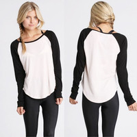 Fashion Women Summer Casual Long Sleeve Colorblocked Baseball T-Shirt Blouse Top [9833989647]