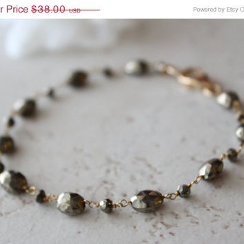 HOLIDAY SALE Wire Wrapped Pyrite Stone Bracelet, Grey Gold Gemstone, Gold Vermeil, Beaded Bracelet, Fool's Gold