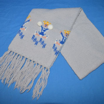 80s Cheerleader Pom Pom Tassel Fringe Winter Scarf