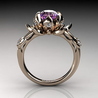 Nature Inspired 14K Rose Gold 2.0 Carat Oval Pink Amethyst Diamond Lotus Flower Engagement Ring R1013-14KRGDAM