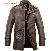 Brand New PU Leather Jacket Men Long Wool Leather Standing Collar Jackets Coat Men Leather Jackets With Outdoor Trench Parka