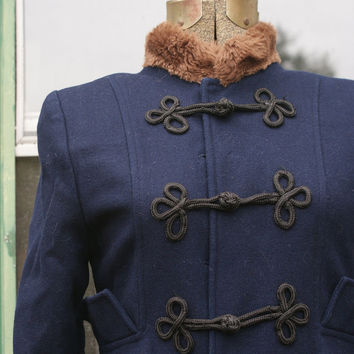 Navy Blue Bell Coat with Brown Teddy Bear Fur