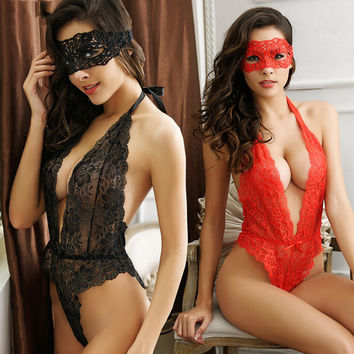 2016 Sexy lingerie hot Red black rose lace open bra teddy lingerie deep-v neck lenceria  erotic lingerie sexy costumes