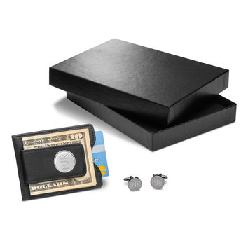 Personalized Black Leather Wallet & Round Gunmetal Cufflinks Gift Set