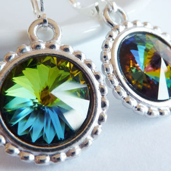 Rainbow Crystal Earrings, Vitrail Crystals, Drop Earrings