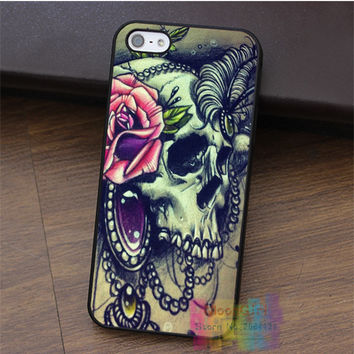 Sugar Skull Lady with Rose hair ornaments  fashion cell phone case for iphone 4 4s 5 5s 5c SE 6 6s & 6 plus & 6s plus