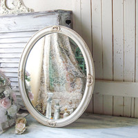 Shabby Chic Cream Oval Ornate Mirror, Antique Cream and Gold Mirror Oval Nursery Mirror, Cottage Chic Off White Mirror, Vintage Oval Mirror