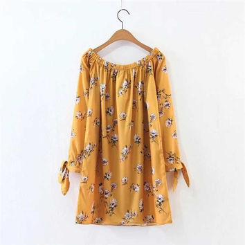 'Ivy' Floral Printed Yellow Off Shoulder Dress