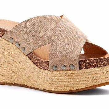 ONETOW Lucky Brand Neeka Feather Grey Wedge Slide Sandals