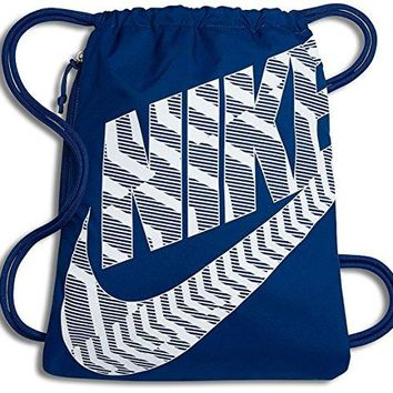 NIKE Heritage Drawstring Gymsack Backpack 400 Denier Sport Bookbag (Blue Jay Flight/White Graphics Mix Signature Swoosh Logo)