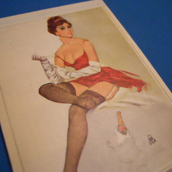Vintage 1977 Pin Up Notepad A Lady and Champagne by ZoeAmaris