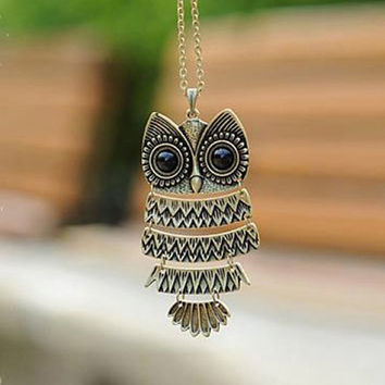 Vintage Cute Owl Pendant Sweater Chain
