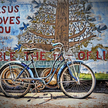 bicycle art, outsider art, campy folk art, Salvation Mountain, bike art, bicycle photo, Jesus Loves You, blue bike, blue birds, message