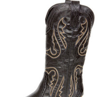 Very Volatile Raspy Black Embroidered Cowboy Boots