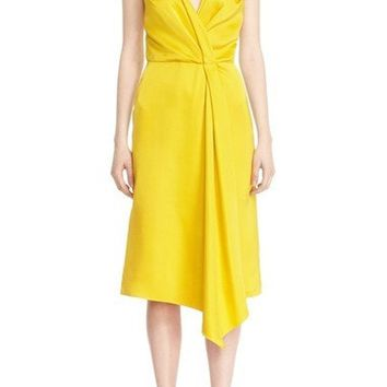 Drape Wrap Midi Dress