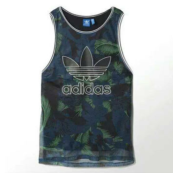 """Adidas"" Women Sports Casual Multicolor Feather Flower Print Sleeveless Vest T-shirt Tops"