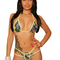 Marijuana Print Bikini With Basic Triangle Top Marijuana Clothing