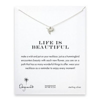 "Dogeared Life Is Beautiful Sweet Hummingbird Sterling Silver Reminder Wish 16"" Necklace"