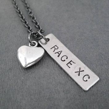 RACE XC with Pewter Heart Charm - Nickel pendant plus Pewter Heart Charm priced with Gunmetal chain