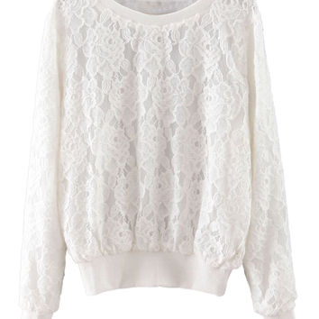 White Lace Floral Long Sleeve Sweatshirt