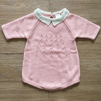 Baby Knitted Rompers Cute Sweet Style Newborn Baby Boy Girl Clothes Seven Sleeves Kids Knitted Jumpsuits Newborn Clothing