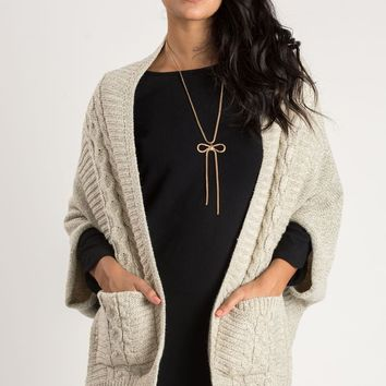Cathy Ivory Cable Poncho