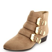 Triple Buckle Pointy Toe Bootie: Charlotte Russe