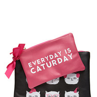 FOREVER 21 Caturday Pouch Set Black/Pink One