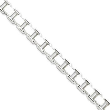Men's 7mm, Sterling Silver, Box Chain Necklace, 22 Inch