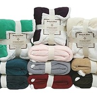 "Multiple Colors- Reversible - Sherpa/ Microplush Throw Blanket- 50""x 60""-Grey - Exclusively by Blowout Bedding RN# 142035"