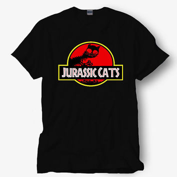 Jurassic cats meow shirt parody of jurassic park , Hot product on USA, Funny Shirt, Colour Black White Gray Blue Red