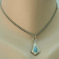 Avon Blue Green Iridescent Pendant Necklace 14 inches