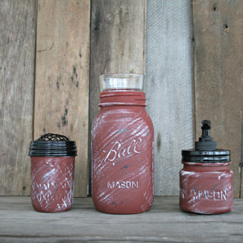 Mason Jar Bath Set, including soap dispenser - Annie Sloan Chalk Paint, Primer Red - Rustic, Country, Shabby Chic, Farmhouse, Vintage Style