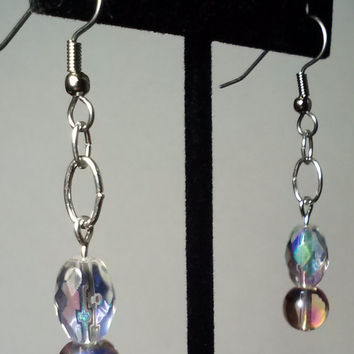 Handmade Beaded Earrings with Pink Aurora Borealis and Crystal Glass Ovals, Colorful Bold and Elegant Statement Jewelry, Prism Earrings
