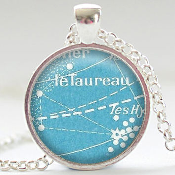 Vintage French Postcard Taurus Necklace, Zodiac Jewelry, Taurus Charm, Astrology Pendant, Your Choice of Finish (1819)